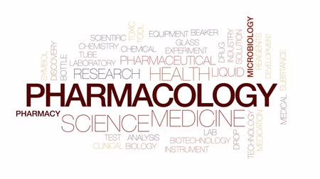 Pharmacology animated word cloud, text design animation. Kinetic typography.