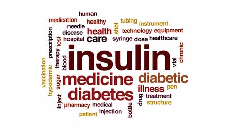 cukorbaj : Insulin animated word cloud, text design animation.