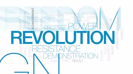birlik : Revolution animated word cloud, text design animation. Kinetic typography. Stok Video