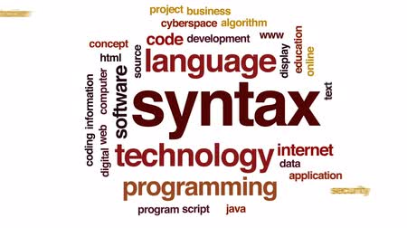 logic : Syntax animated word cloud, text design animation. Stock Footage