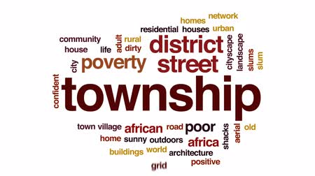 slum : Township animated word cloud, text design animation. Stock Footage