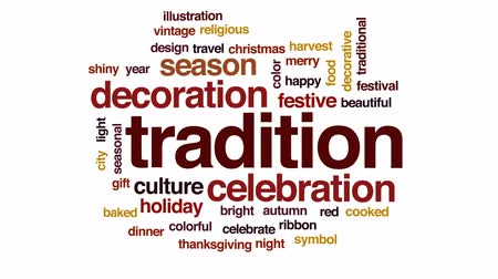 karácsonyi ajándék : Tradition animated word cloud, text design animation.
