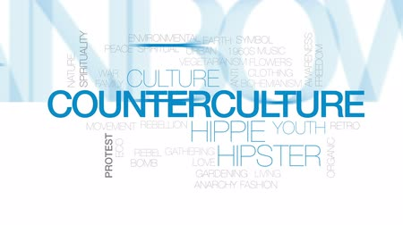 hippie : Counterculture animated word cloud, text design animation. Kinetic typography. Stock Footage