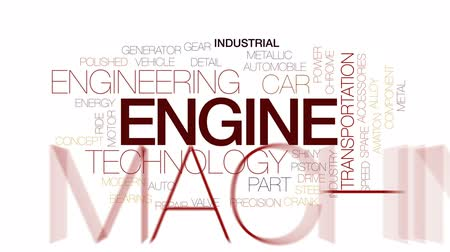 spare part : Engine animated word cloud, text design animation. Kinetic typography.