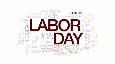 odznak : Labor day animated word cloud, text design animation. Kinetic typography. Dostupné videozáznamy