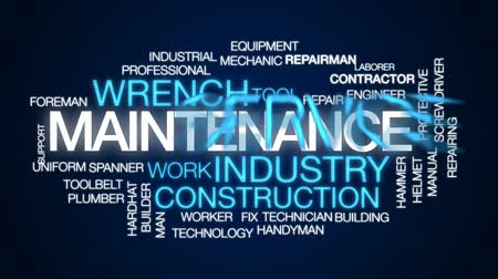 hydraulik : Maintenance animated word cloud, text design animation. Wideo