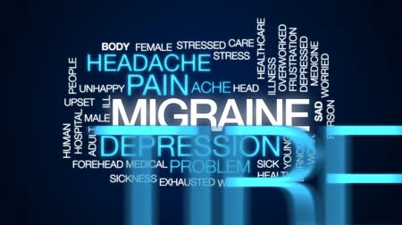 preocupar se : Migraine animated word cloud, text design animation.