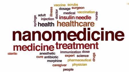 Nanomedicine animated word cloud, text design animation.