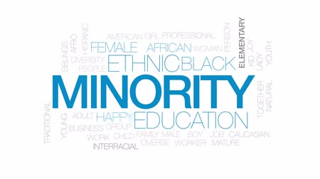 minority group : Minority animated word cloud, text design animation. Kinetic typography.
