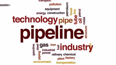 petroleum refinery : Pipeline animated word cloud, text design animation. Stock Footage