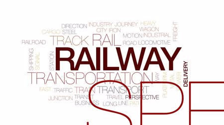 csomópont : Railway animated word cloud, text design animation. Kinetic typography.