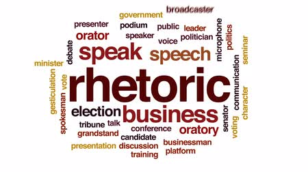 подиум : Rhetoric animated word cloud, text design animation.