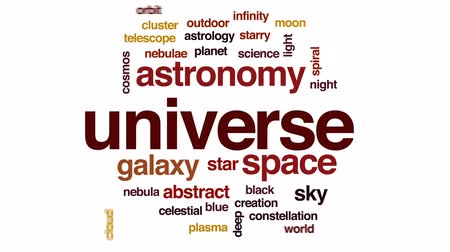 távcső : Universe animated word cloud, text design animation.