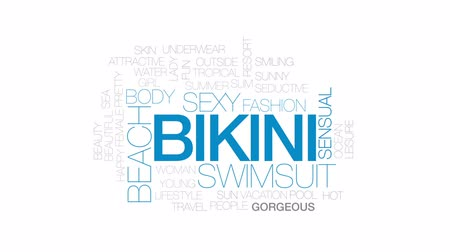 zmysłowy : Bikini animated word cloud, text design animation. Kinetic typography. Wideo