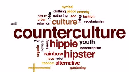 hippie : Counterculture animated word cloud, text design animation.