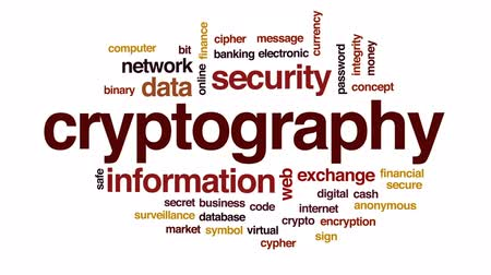şifreleme : Cryptography animated word cloud, text design animation.