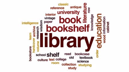 ders kitabı : Library animated word cloud, text design animation.