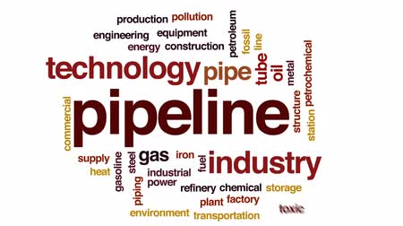 Pipeline animated word cloud, text design animation. Stock Footage
