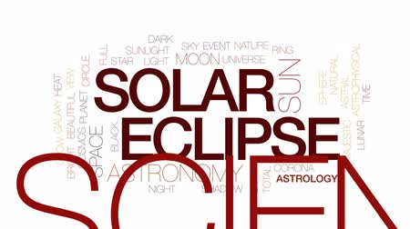 Solar eclipse animated word cloud, text design animation. Kinetic typography. Wideo