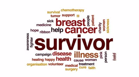 Survivor animated word cloud, text design animation.