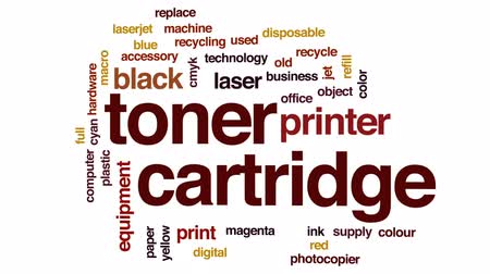 photocopier : Toner cartridge animated word cloud, text design animation.