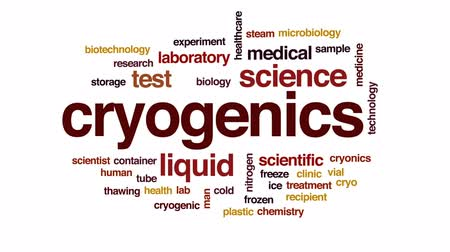 recipient : Cryogenics animated word cloud, text design animation. Stock Footage