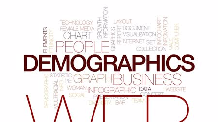 demographic : Demographics animated word cloud, text design animation. Kinetic typography.