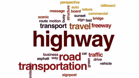 Highway animated word cloud, text design animation.