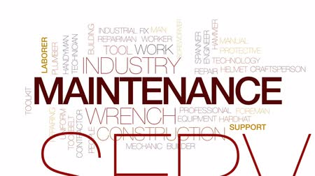 wrench : Maintenance animated word cloud, text design animation. Kinetic typography. Stock Footage