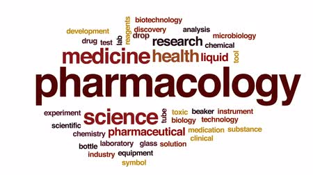 Pharmacology animated word cloud, text design animation.