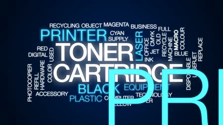 impressão digital : Toner cartridge animated word cloud, text design animation.