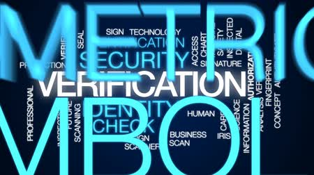 id : Verification animated word cloud, text design animation.