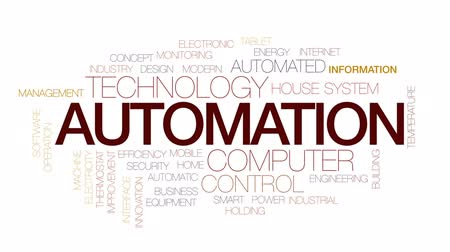 termostat : Automation animated word cloud, text design animation. Kinetic typography.