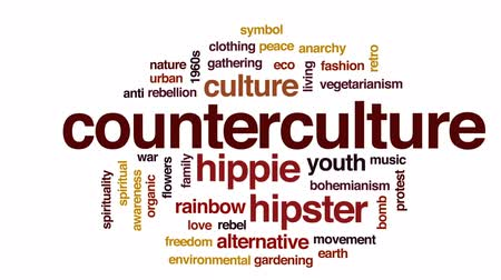 összejövetel : Counterculture animated word cloud, text design animation.