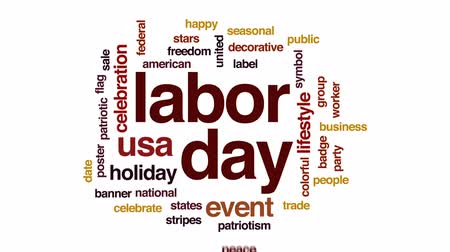 seasonal sale : Labor day animated word cloud, text design animation. Stock Footage