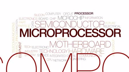 układ scalony : Microprocessor animated word cloud, text design animation. Kinetic typography. Wideo