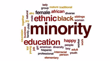 minority group : Minority animated word cloud, text design animation.