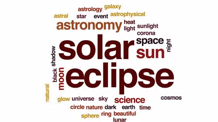 Solar eclipse animated word cloud, text design animation.