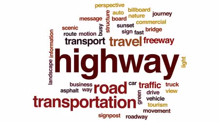 poste de sinalização : Highway animated word cloud, text design animation.