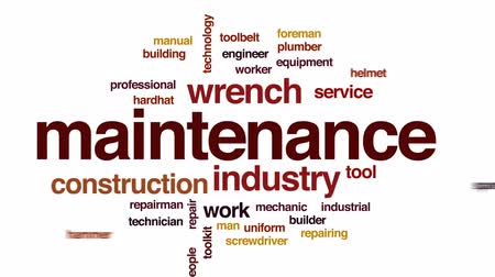 csavarkulcs : Maintenance animated word cloud, text design animation. Stock mozgókép