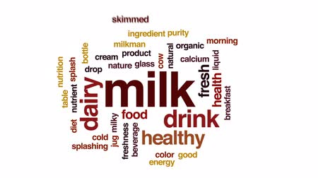 кальций : Milk animated word cloud, text design animation. Стоковые видеозаписи
