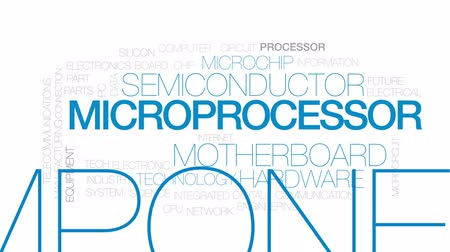 płytka drukowana : Microprocessor animated word cloud, text design animation. Kinetic typography. Wideo