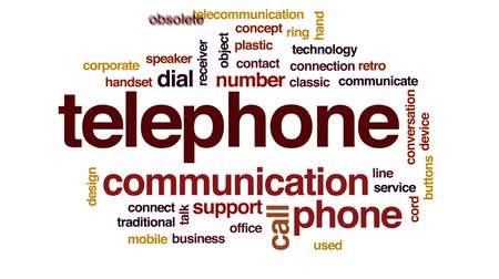 telephone handset : Telephone animated word cloud, text design animation.