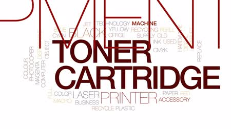 usado : Toner cartridge animated word cloud, text design animation. Kinetic typography.