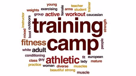 buty : Training camp animated word cloud, text design animation.