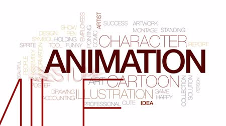 sprite : Animation animated word cloud, text design animation. Kinetic typography.