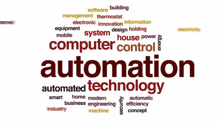 automatyka : Automation animated word cloud, text design animation. Wideo