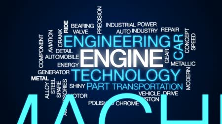 alaşım : Engine animated word cloud, text design animation. Stok Video