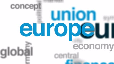 Eurozone animated word cloud, text design animation.