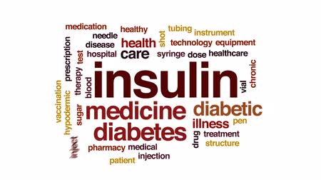 diyabet : Insulin animated word cloud, text design animation.